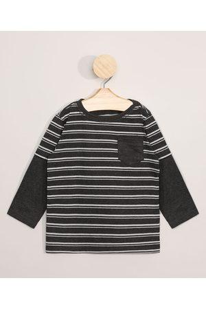 BABY CLUB Camiseta Infantil Manga Longa Sobreposição Listrada com Bolso Chumbo