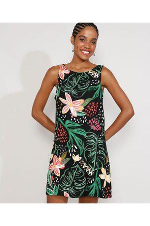 YESSICA Mulher Vestido Estampado - Vestido Feminino Curto Floral Tropical Sem Manga Preto