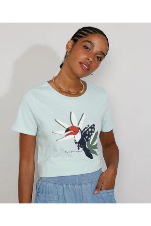 YESSICA Camiseta Feminina Manga Curta Tucano Decote Redondo Claro