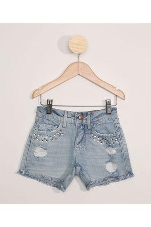 PALOMINO Menina Bermuda - Short Jeans Feminino com Strass Destroyed Claro
