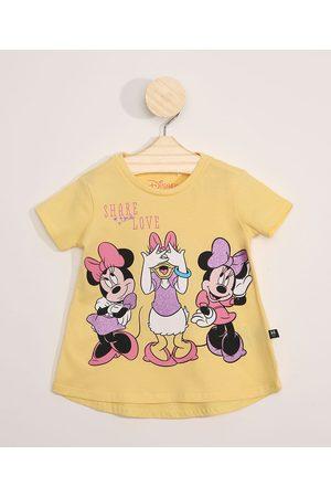 Disney Menina Manga Curta - Blusa Infantil Manga Curta Minnie e Margarida com Glitter