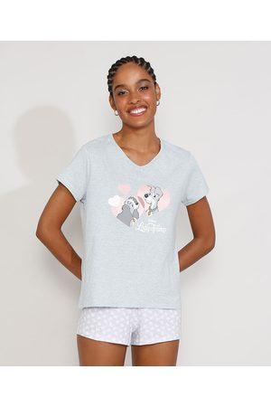 Disney Mulher Pijamas - Pijama Feminino Manga Curta A Dama e o Vagabundo com Estampa de Coração Mescla