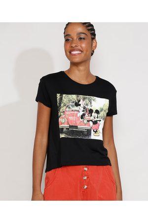 Disney Mulher Camiseta - Camiseta Feminina Manga Curta Mickey e Minnie Decote Redondo Preta