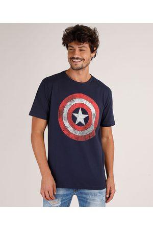 Marvel Homem Manga Curta - Camiseta Masculina Tal Pai Tal Filho Capitão América Manga Curta Gola Careca Azul Marinho