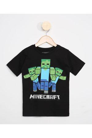 Minecraft Menino Manga Curta - Camiseta Infantil Manga Curta Preta