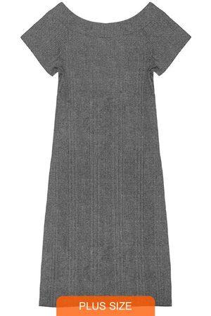 Rovitex Plus Size Mulher Vestido Médio - Vestido Midi Ribana Canelada