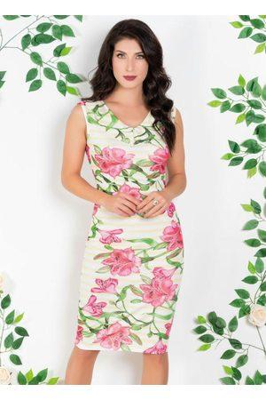 ROSALIE Vestido Floral e Listrado com Decote V