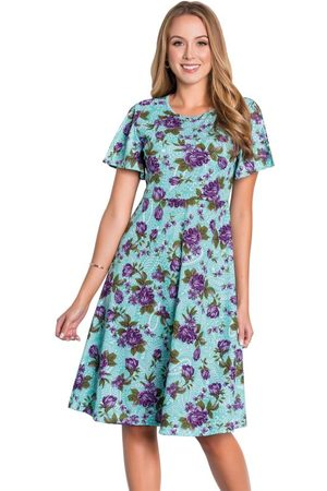 ROSALIE Vestido Evasê Floral com Fenda Moda Evangélica