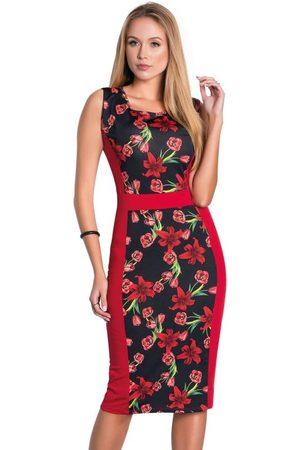 ROSALIE Vestido Tubinho Floral Dark Moda Evangélica