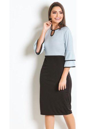 Rosalie Vestido Bicolor com Babados Moda Evangélica