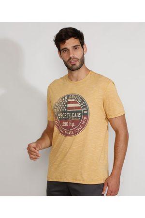 "ANGELO LITRICO Homem Camiseta - Camiseta Masculina Manga Curta Gola Careca Sports Cars Classics"" Mostarda"""