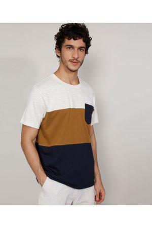 Suncoast Camiseta Masculina Manga Curta Gola Careca com Recortes e Bolso Off White