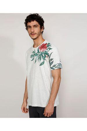 Suncoast Homem Manga Curta - Camiseta Masculina Manga Curta Gola Careca com Estampa Floral Mescla Claro