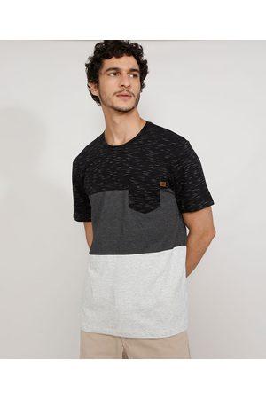 Suncoast Camiseta Masculina Manga Curta Gola Careca com Recortes e Bolso Preta