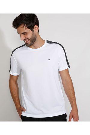 ACE Camiseta Masculina Esportiva com Tela Manga Curta Gola Careca Branca