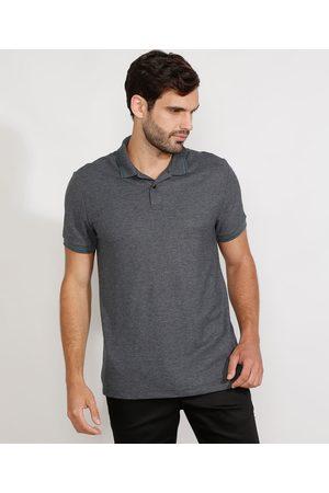 Basics Homem Camisa Pólo - Polo Masculina Básica Manga Curta Mescla Escuro
