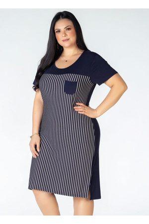 Mink Mulher Vestido Estampado - Vestido Plus Size Listrado com Bolso