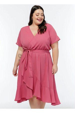 Mink Mulher Vestido Médio - Vestido Plus Size Transpassado com Babados