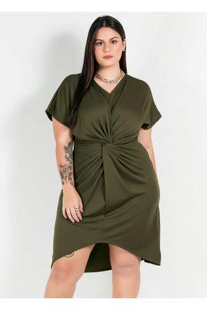 Mink Mulher Vestido Médio - Vestido Plus Size VerdeCom Barra Assimétrica