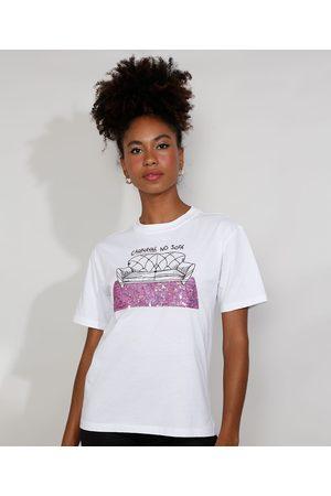 "Mindse7 T-Shirt Feminina Mindset com Bordado Carnaval no Sofá"" e Paetês Manga Curta Decote Redondo Branca"""