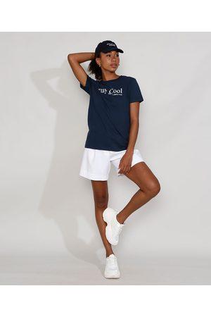 "Mindse7 T-Shirt Feminina Mindset Stay Cool"" Manga Curta Decote Redondo """