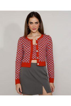 Mindse7 Cardigan de Tricô Feminino Mindset Cropped Xadrez Vichy Decote Redondo Laranja Escuro