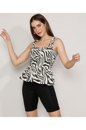 Mindse7 Regata Feminina Mindset Estampada Animal Print Zebra com Babado Alça Larga Decote Reto Branca