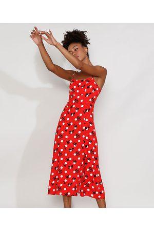 Mindse7 Mulher Vestido Estampado - Vestido Feminino Mindset Midi Floral com Fenda Alça Fina Vermelho