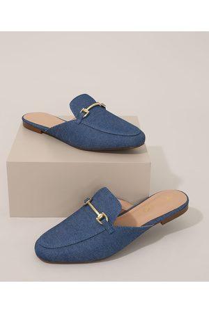 Via Uno Mulher Sapato Mule - Mule Feminino Jeans com Fivela