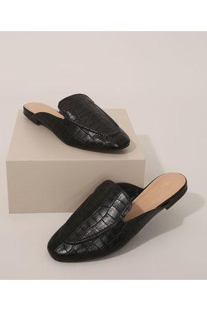 Via Uno Mulher Sapato Mule - Mule Feminino Texturizado Cobra