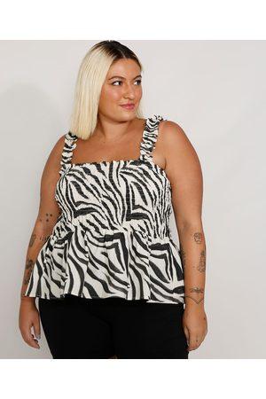Mindse7 Mulher Regata - Regata Feminina Plus Size Mindset Estampada Animal Print Zebra com Babado Alça Larga Decote Reto Branca