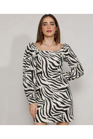 Mindse7 Vestido Feminino Mindset Curto Animal Print Zebra Manga Bufante Branco
