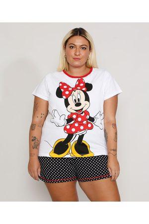 Disney Pijama Feminino Plus Size Tal Mãe Tal Filha Minnie Manga Curta
