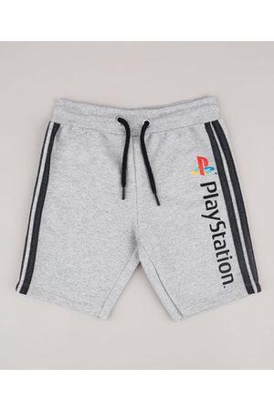 Playstation Bermuda Infantil em Moletom com Faixas Laterais Mescla