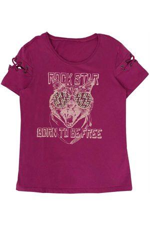 Cativa Kids T-Shirt com Manga Curta Diferenciada Rosa