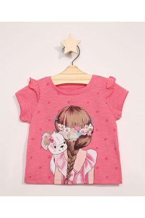 BABY CLUB Blusa Infantil Manga Curta Menina com Glitter Pink