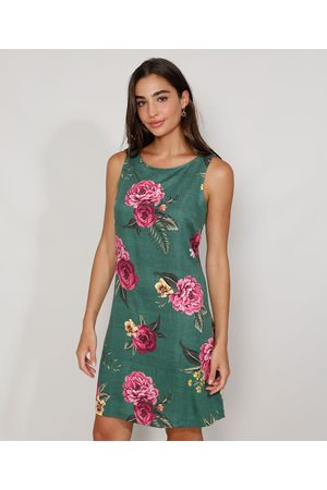 YESSICA Vestido Feminino Curto Floral Sem Manga Verde