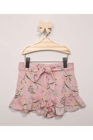 BABY CLUB Short Infantil Floral com Babado Rosa