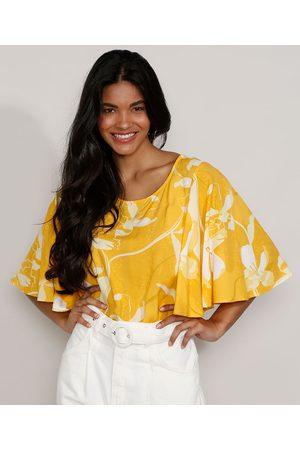 YESSICA Blusa Feminina Manga Curta Ampla Blusê Estampada Floral Decote Redondo Amarela