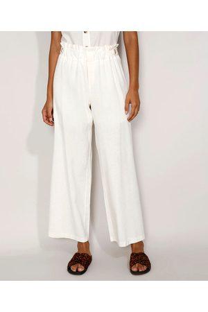 YESSICA Calça Feminina Pantalona Cintura Super Alta com Linho e Martingale Off White