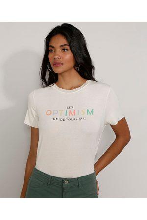"""Clockhouse Camiseta Feminina Manga Curta Canelada Optimism"""" Decote Redondo Off White"""""""