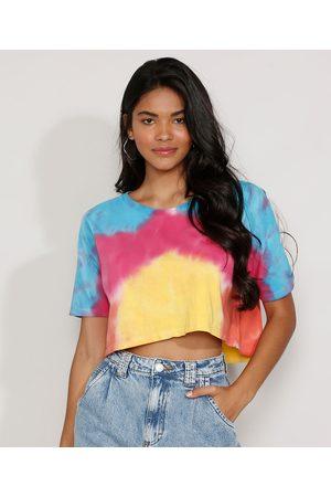 Clockhouse Mulher Camiseta - Camiseta Feminina Manga Curta Cropped Ampla Estampada Tie Dye Decote Redondo Multicor