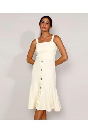 City Vestido Feminino Midi com Botões e Babado Alça Larga Off White