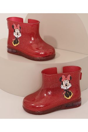 Disney Galocha Infantil Minnie com Glitter Vermelha