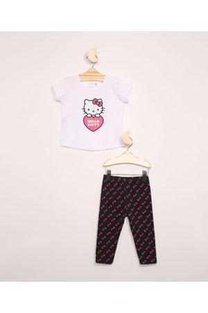 Sanrio Menina Manga Curta - Conjunto Infantil de Blusa Manga Curta Estampada Hello Kitty + Calça Legging Azul Marinho