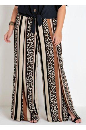 Mink Mulher Calça Pantalona - Calça Plus Size Pantalona Onça e Listras