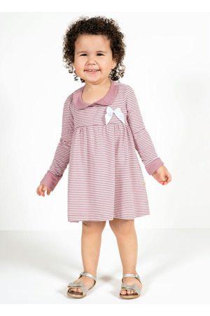 Moda Pop Bebê Vestidos - Blusa Bebê com Laço Listras
