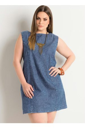 QUINTESS Mulher Vestidos - Vestido Trapézio Jeans Plus Size