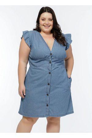 Mink Mulher Vestido Médio - Vestido Plus Size Jeans Médio com Babados