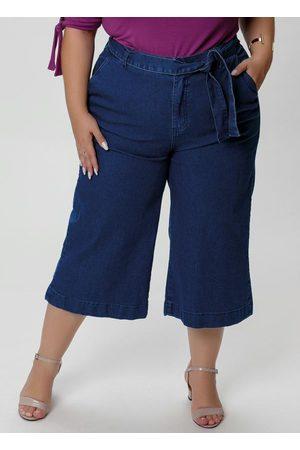 Mink Calça Pantacourt Jeans com Amarração na Cintura